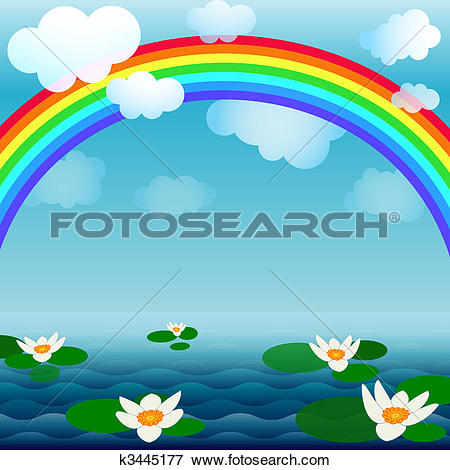Clip Art of Bright spring water background k3445177.