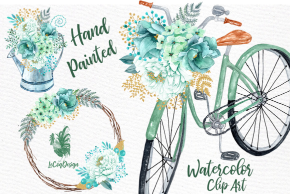 Mint Watercolor Flowers WATERCOLOR CLIPART Spring Flowers Wedding Clipart  Floral clipart Floral Wreaths.