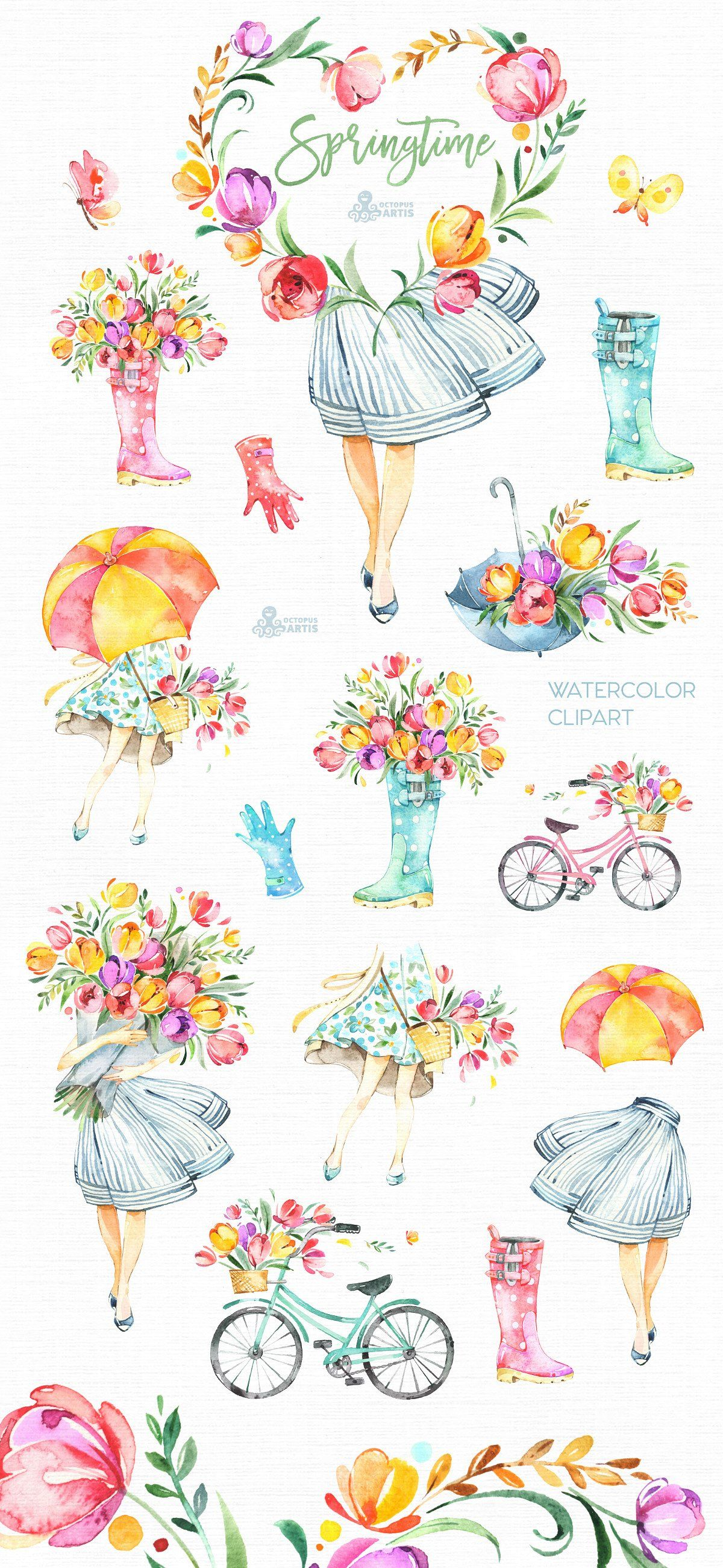 Springtime. Watercolor collection by OctopusArtis on.