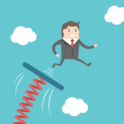 The Businessman Is Jumping On Springboard Clip Art, Vector Images.