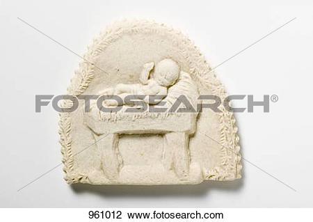 Stock Photo of Springerle cookie (Baby Jesus in manger) 961012.