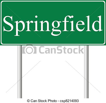 Vectors of Springfield green road sign isolated on white.