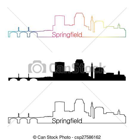Clip Art Vector of Springfield MA skyline linear style with.