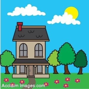 Clipart Picture of a House in the Spring.