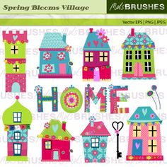 House Clipart, Fun House Clipart, Childrens Clipart, Instant.