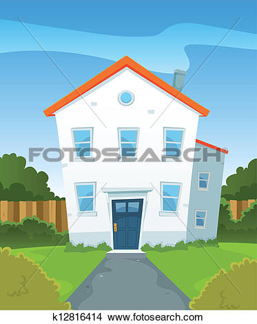 Clipart of Spring House In Garden k12816414.