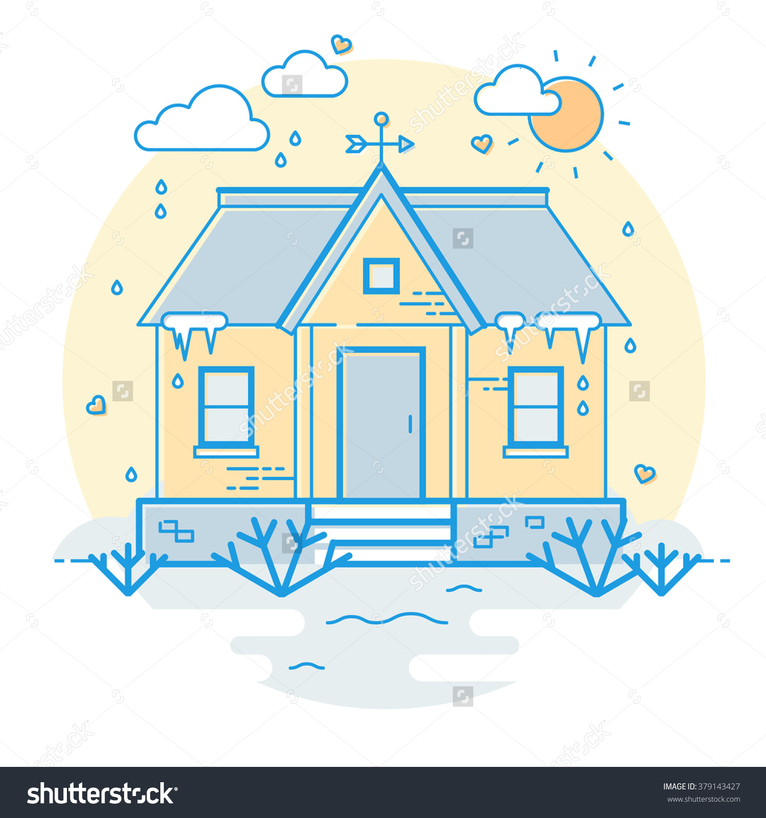 Vector Spring House Vane Rainy Day Stock Vector 379143427.