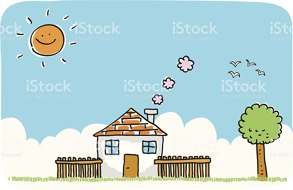 Summer Or Spring House With Nature Doodle Cartoon Illustration.