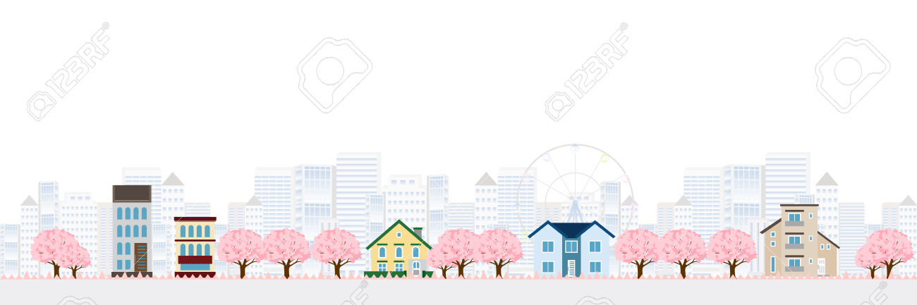 Cherry Spring House Background Royalty Free Cliparts, Vectors, And.