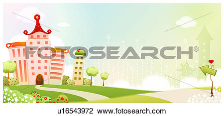 Clip Art of hill, spring, house, builidng, background, path.