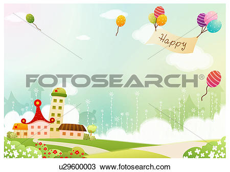 Drawing of balloon, spring, house, building, background, banner.