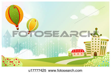 Stock Illustration of hill, spring, house, building, background.