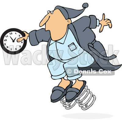 of a Caucasian Man in Pajamas, Springing Forward with a Clock.