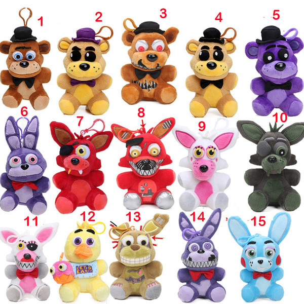 2019 15styles Nightmare 14cm Five Nights At Freddy\'S Plush Keychain Freddy  Bear Foxy Springtrap Bonnie Toy Fnaf Stuffed Dolls From Naigou, $125.59.