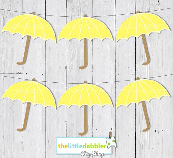 Printable Umbrella Banner Clipart.