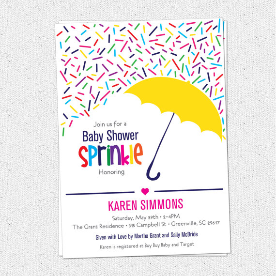 Sprinkle Baby Shower Invitation Raining Rainbow Sprinkles and.