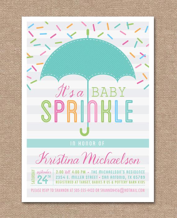 Printable BABY SPRINKLE Invitation Baby Shower Umbrella.