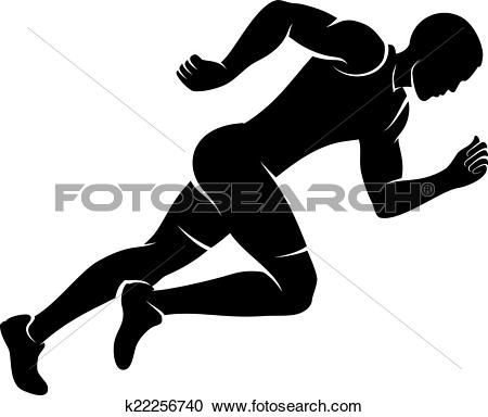 Clipart of Silhouettes, athletes run around the globe. vector.