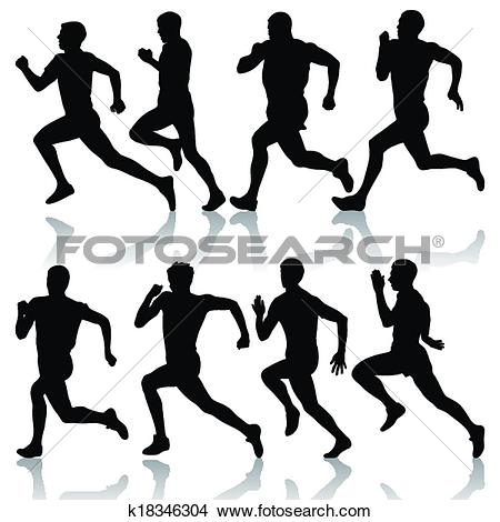 Clipart of Set of silhouettes. Runners on sprint, men. vector.