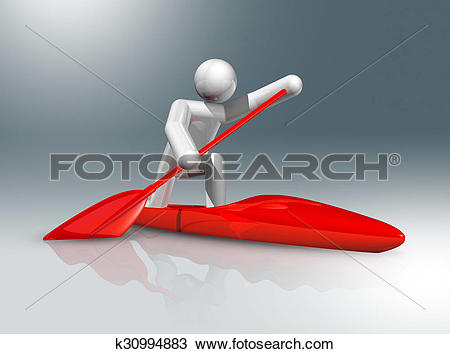 Drawing of Canoe Sprint 3D symbol, Olympic sports k30994883.