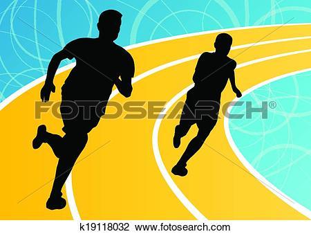 Clipart of Active men runner sport athletics running silhouettes.