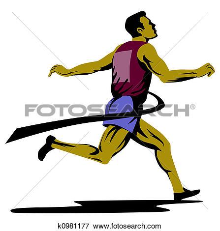 Stock Illustration of Sprinter winning finish k0981177.