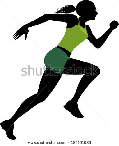 Female sprinter clipart.