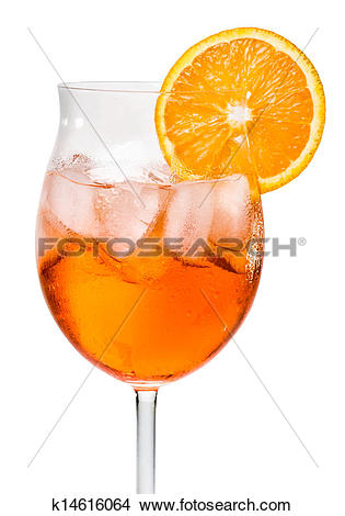 Stock Photo of Aperol Spritz in a wine glass decorated with an.