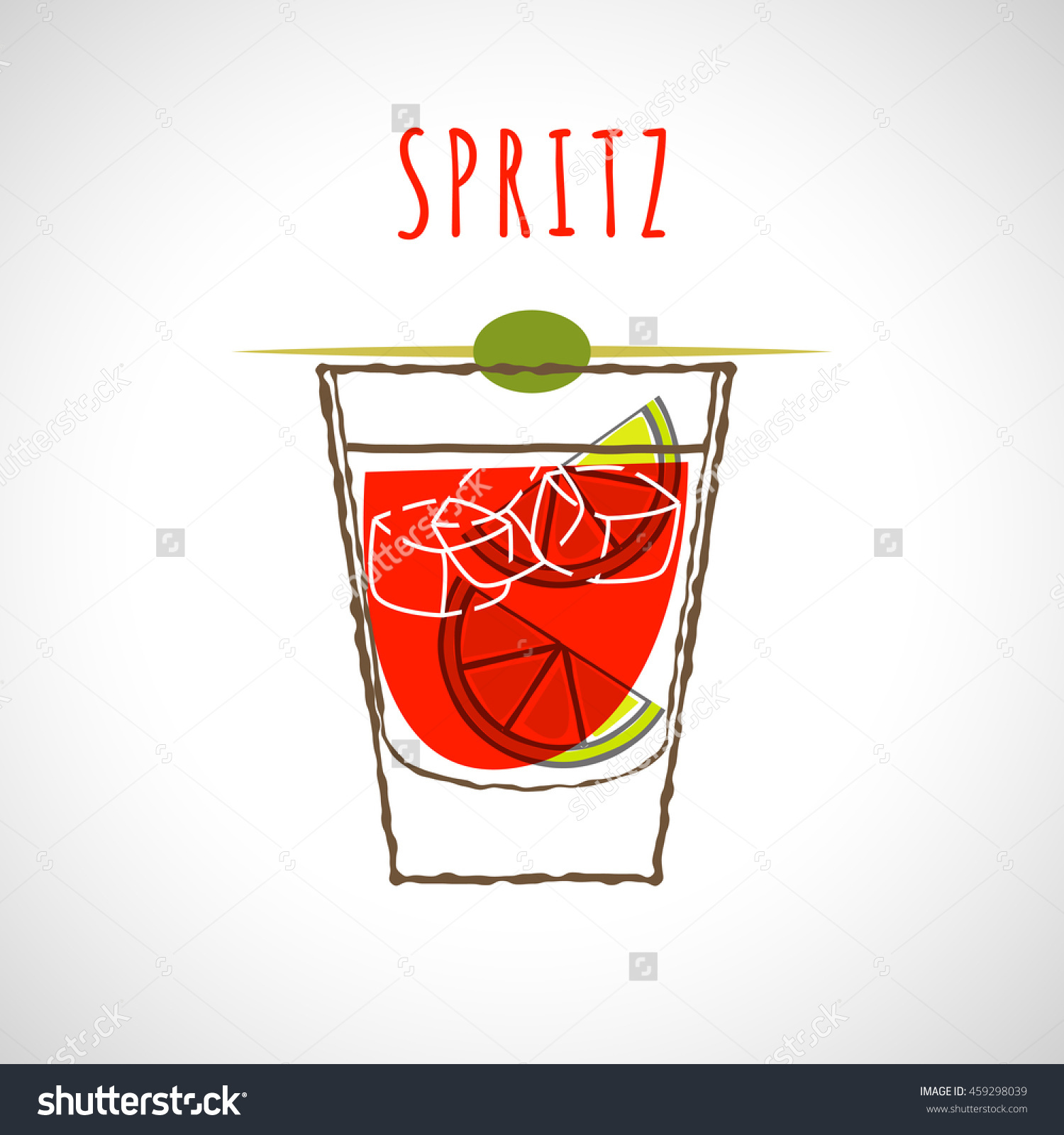 Vector Illustration Of Cocktail Spritz Stylized In Color.