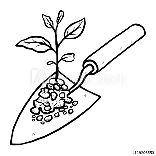plant sprout and trowel / cartoon vector and illustration.