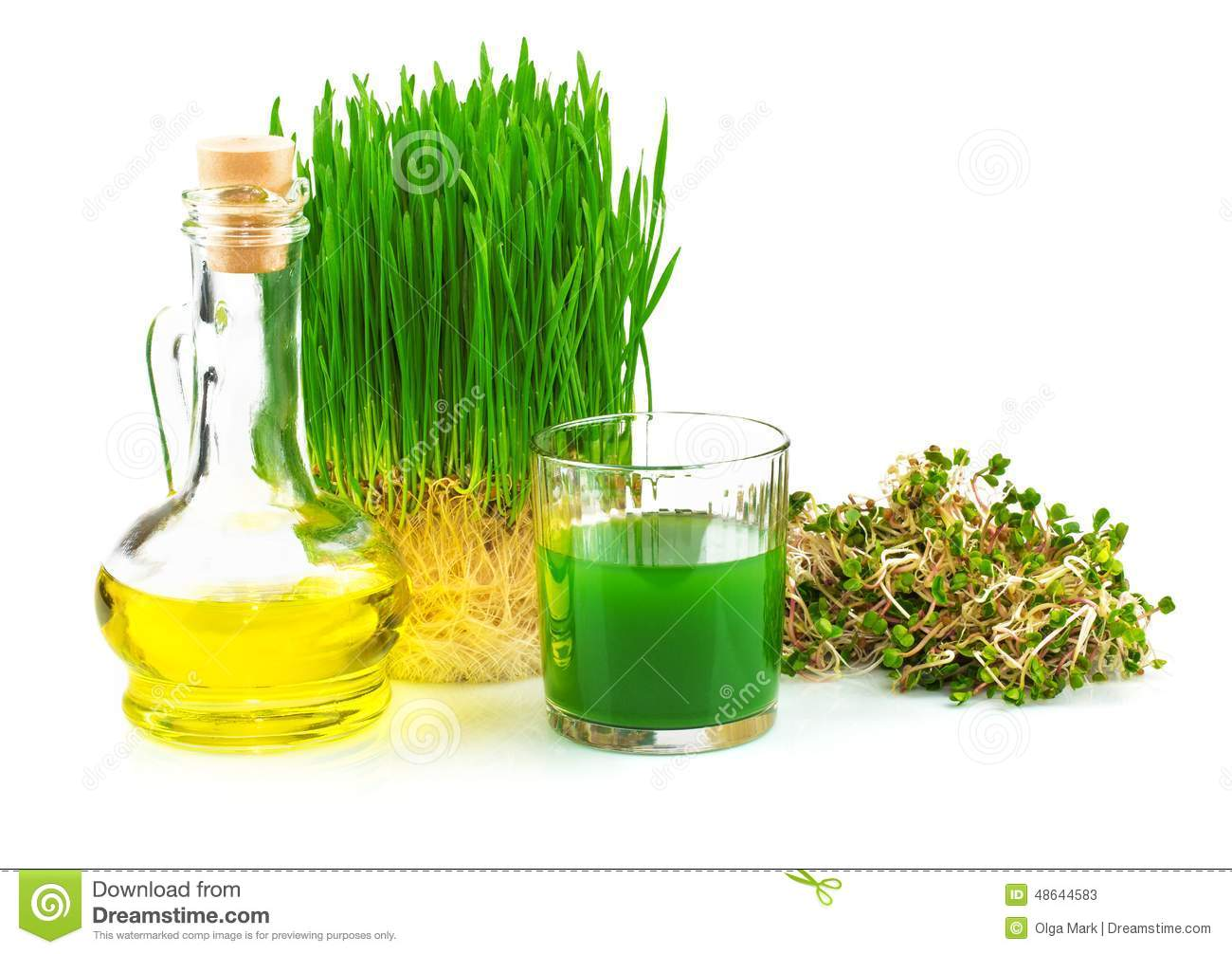 Wheatgrass Juice With Sprouted Wheat And Wheat Germ Oil Stock.