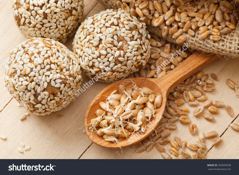 Macrobiotic Healthy Food Balls Ground Wheat Stock Photo 183829928.