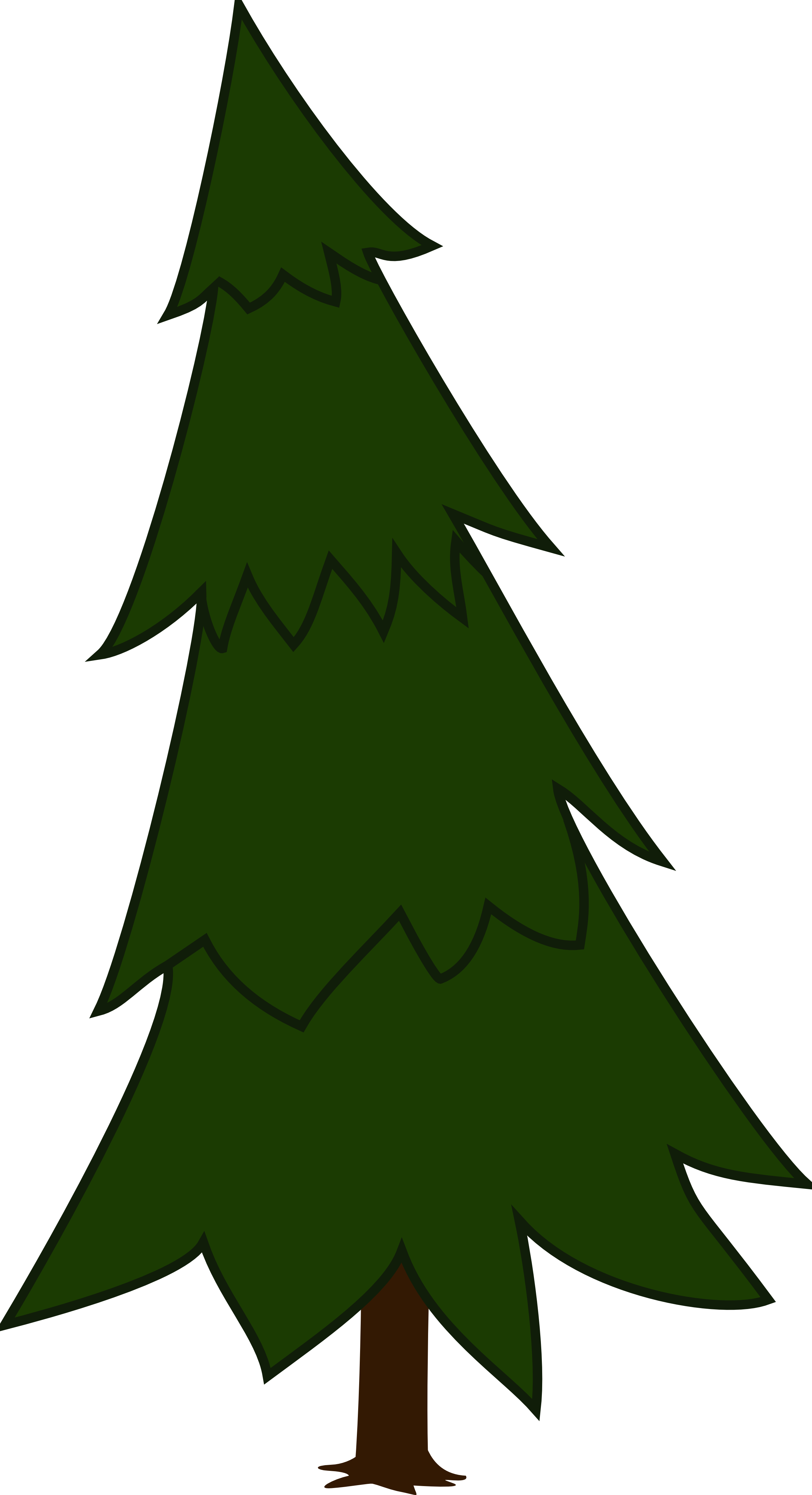 Clipart of a spruce tree line art.