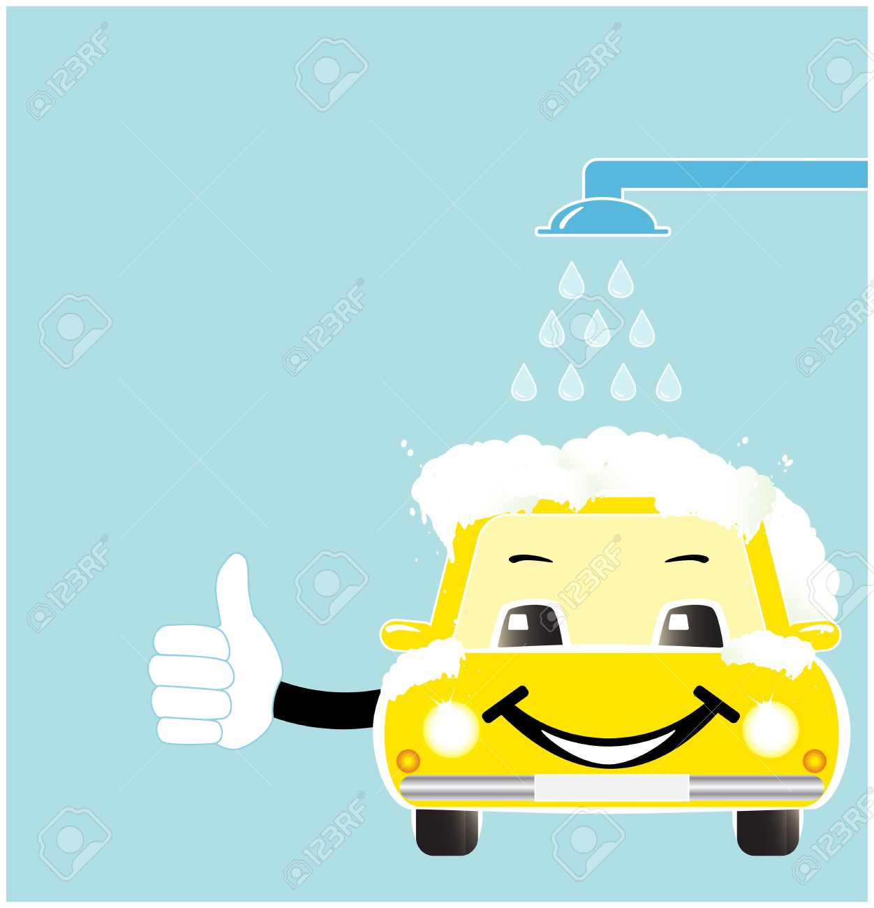 Smile Cartoon Car In Car Wash With Soap Spume Royalty Free.