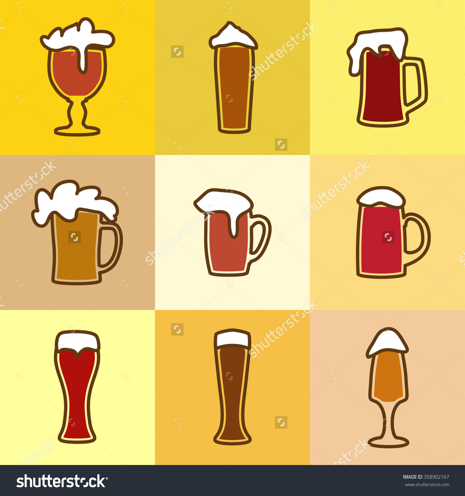 Different Glasses Of Beer With Spume Stock Vector Illustration.