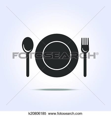 Clipart of fork spun plate icon k20806185.