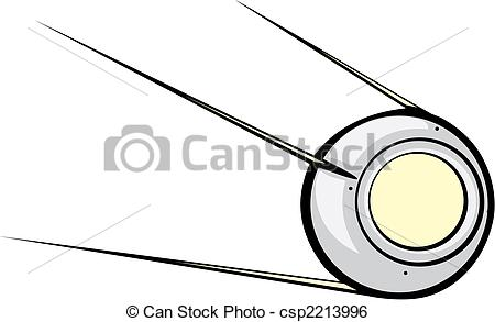 Clip Art Vector of Sputnik Satellite Retro Russian Satellite with.