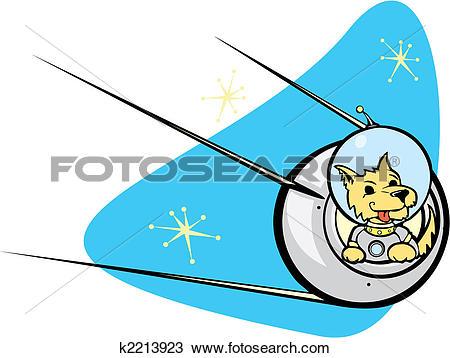 Clipart of Sputnik Satellite and dog. k2213923.
