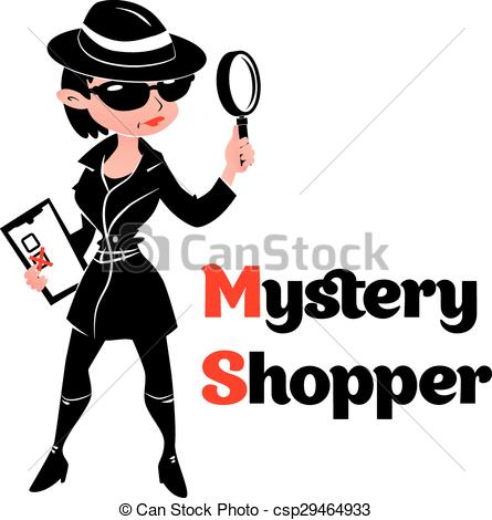 Vectors of Black and white mystery shopper woman in spy coat.