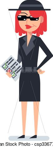 Vector Illustration of Mystery shopper woman in spy coat, boots.
