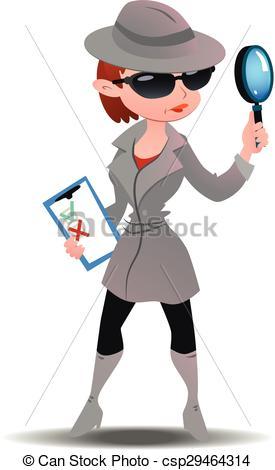 Vector Clip Art of Mystery shopper woman in spy coat, boots.