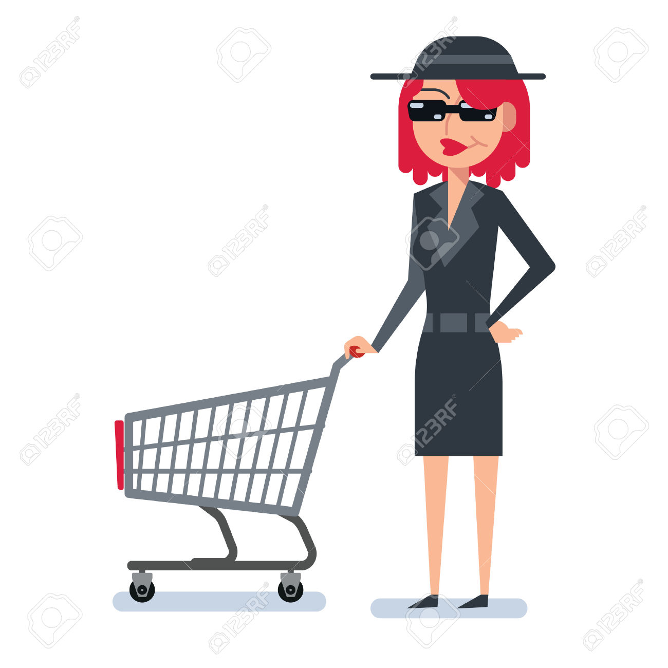 Mystery Shopper Woman In Spy Coat, Boots, Sunglasses And Hat.