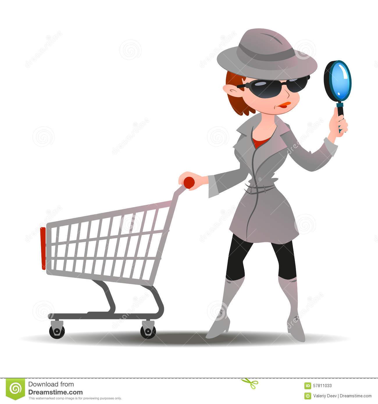 Mystery Shopper Woman In Spy Coat Stock Vector.