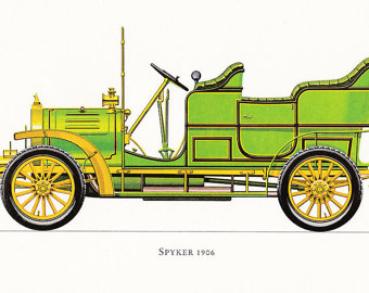 veteran car motoring green vintage Italian by FairlyVintagePrints.
