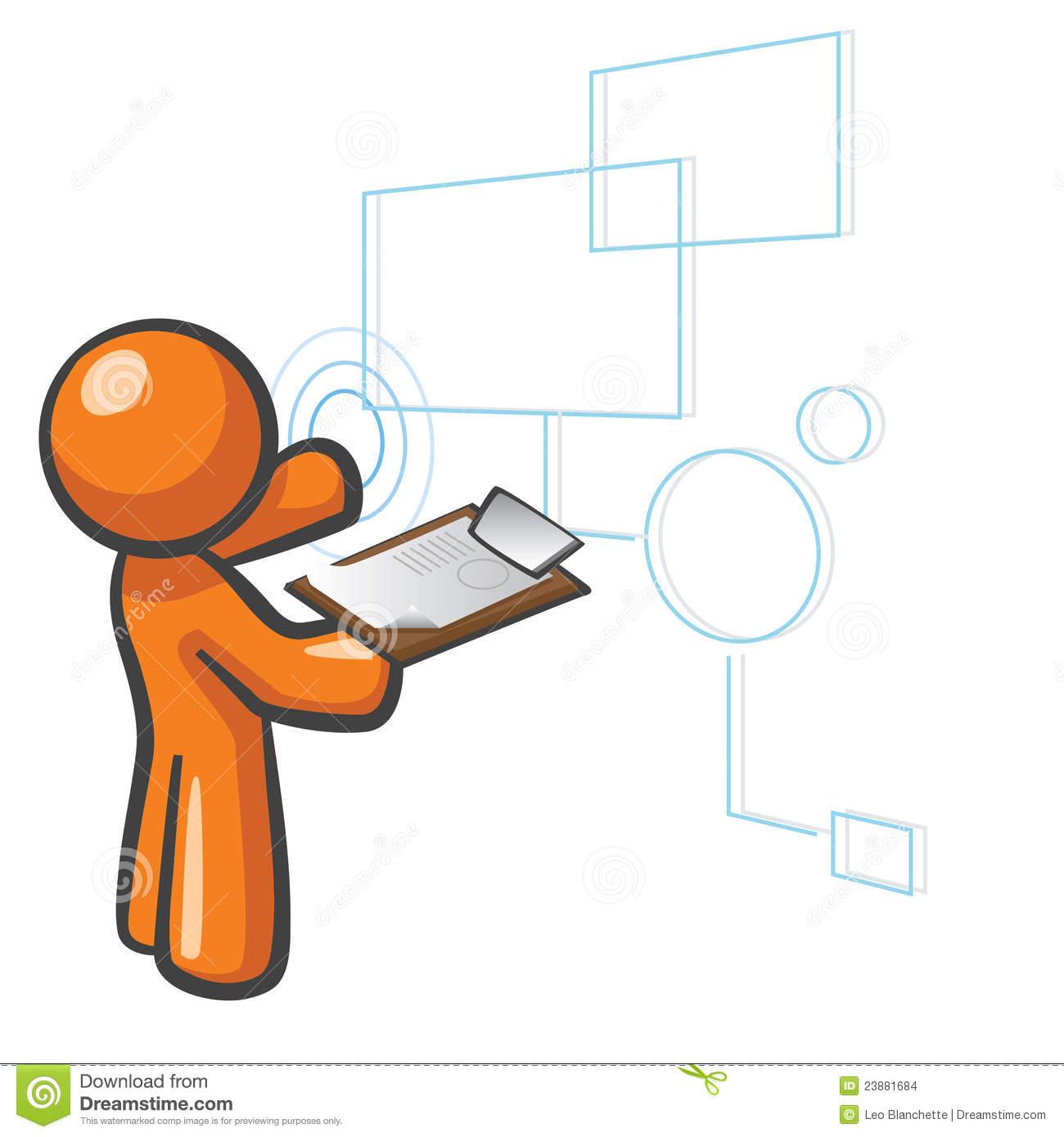Orange Man SQL Databases Stock Images.