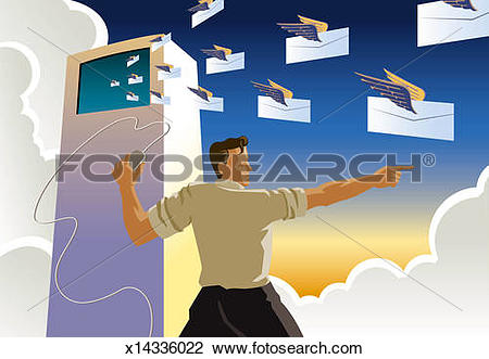 Clip Art of Man holding computer mouse, directing squadron of.