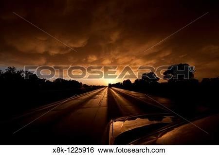 Stock Images of A POV shot from a moving car on Interstate 80 in.