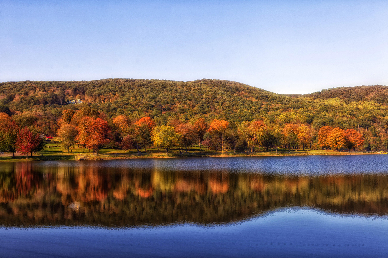 Squantz Pond Autumn Landscape in Connecticut.