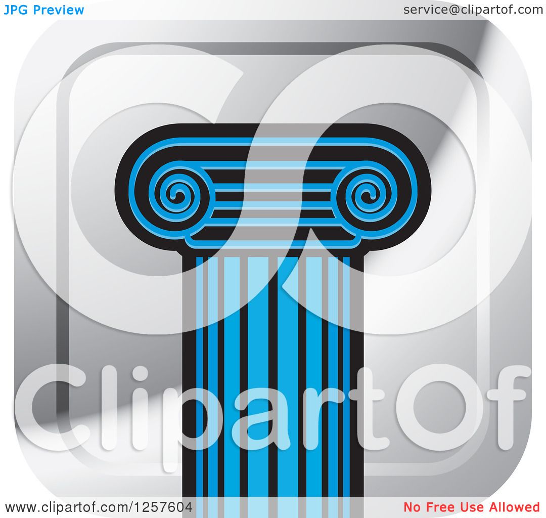 Clipart of a Blue Pillar Column on a Square Silver Icon.