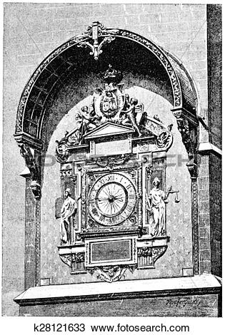 Drawing of The clock in the square tower, vintage engraving.